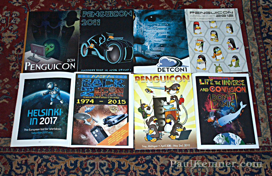 Programs for Penguicon, Detcon1, ConFusion, and a Worldcon bid for Helsinki in 2017
